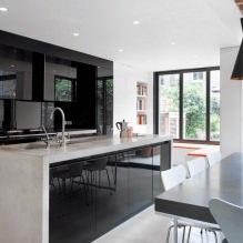 Черный гарнитур в интерьере в кухне: дизайн, выбор обоев, 90 фото - 84