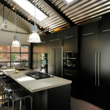 Черный гарнитур в интерьере в кухне: дизайн, выбор обоев, 90 фото - 65