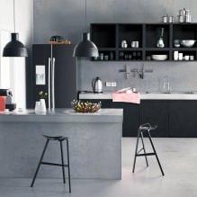 Черный гарнитур в интерьере в кухне: дизайн, выбор обоев, 90 фото - 86