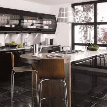 Черный гарнитур в интерьере в кухне: дизайн, выбор обоев, 90 фото - 85