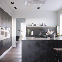 Черный гарнитур в интерьере в кухне: дизайн, выбор обоев, 90 фото - 61