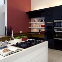 Черный гарнитур в интерьере в кухне: дизайн, выбор обоев, 90 фото - 72
