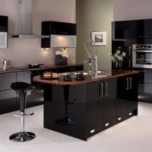 Черный гарнитур в интерьере в кухне: дизайн, выбор обоев, 90 фото - 66