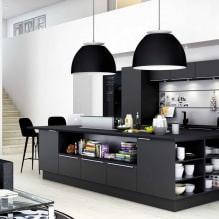 Черный гарнитур в интерьере в кухне: дизайн, выбор обоев, 90 фото - 73
