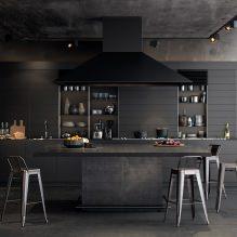 Черный гарнитур в интерьере в кухне: дизайн, выбор обоев, 90 фото - 80