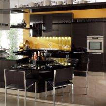 Черный гарнитур в интерьере в кухне: дизайн, выбор обоев, 90 фото - 79