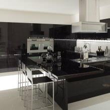 Черный гарнитур в интерьере в кухне: дизайн, выбор обоев, 90 фото - 77
