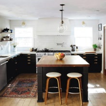 Черный гарнитур в интерьере в кухне: дизайн, выбор обоев, 90 фото - 87