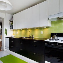 Черный гарнитур в интерьере в кухне: дизайн, выбор обоев, 90 фото - 89