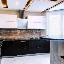 Черный гарнитур в интерьере в кухне: дизайн, выбор обоев, 90 фото - 81