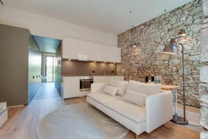Использование камня в интерьере квартиры: виды, сочетания, 65 фото