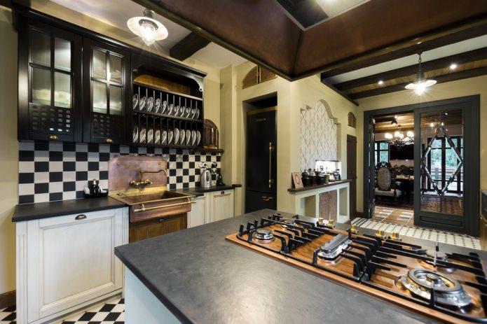 Интерьер кухни с темной столешницей: особенности, материалы, сочетания, 75 фото