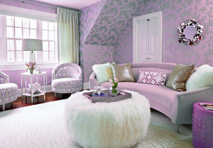 Сиреневые обои в интерьере: виды, дизайн, выбор стиля и штор, сочетания, 55 фото