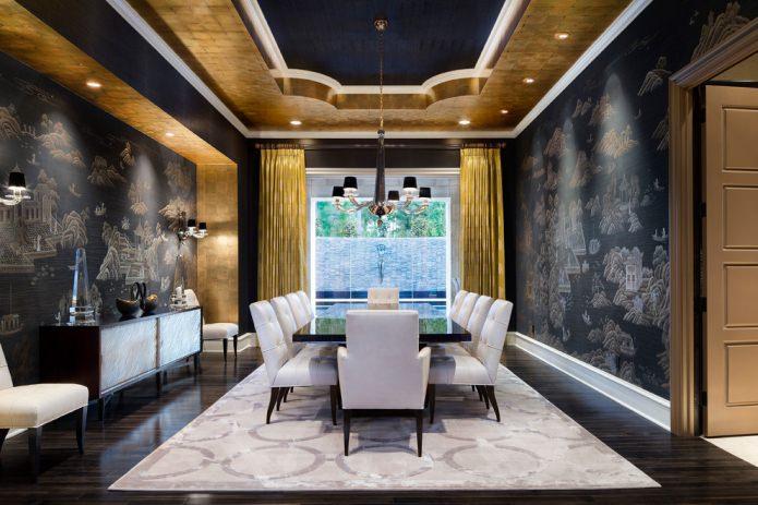 Дизайн комнаты с золотыми шторами: выбор ткани, сочетания, виды штор, 70 фото
