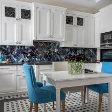 Белый кухонный гарнитур: особенности выбора, сочетания, 70 фото в интерьере - 57