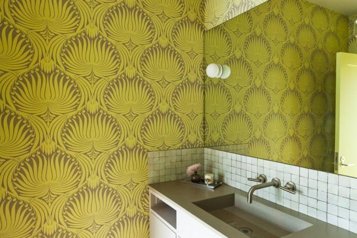 Интерьер с обоями в зеленых тонах: дизайн, сочетания, выбор стиля, 70 фото