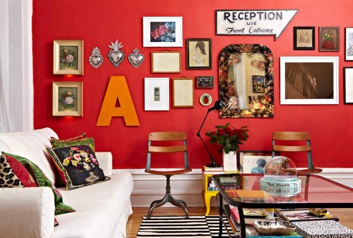 Красный цвет в интерьере: значение, сочетание, стили, отделка, мебель (80 фото)