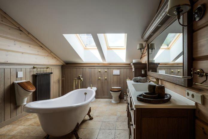 Дизайн ванной на мансарде: особенности отделки, цвет, стиль, выбор штор, 65 фото