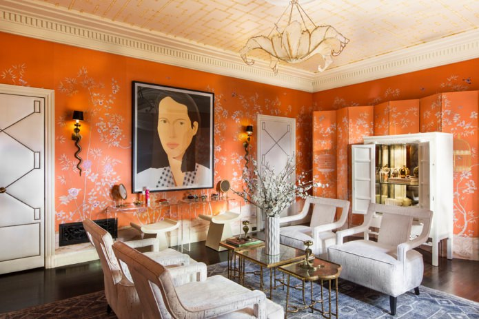 Оранжевый цвет в интерьере: значение, особенности оформления, стили, 60 фото