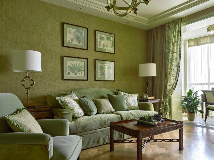 Дизайн интерьера в оливковом цвете: сочетания, стили, отделка, мебель, акценты