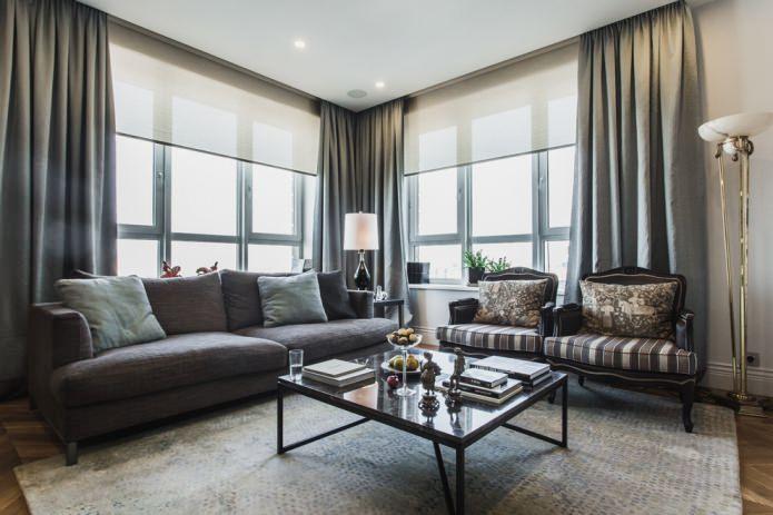 Серые шторы в интерьере квартиры: виды, ткани, стили, сочетания, дизайн и декор