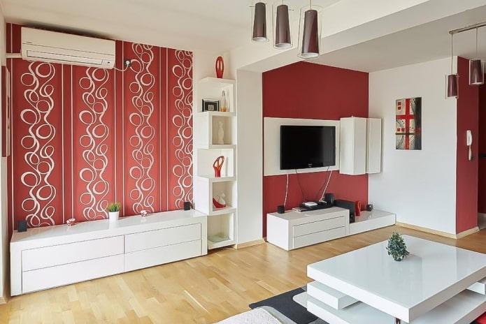 Красные обои в интерьере: виды, дизайн, сочетание с цветом штор, мебели