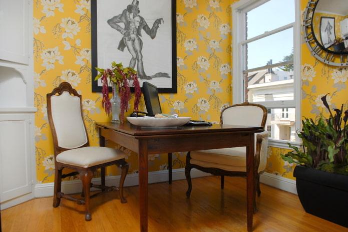 Обои желтого цвета в интерьере: виды, дизайн, сочетания, выбор штор и стиля