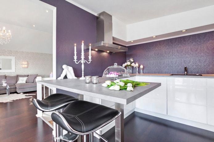Отделка стен кухни моющимися обоями: 59 современных фото и идей