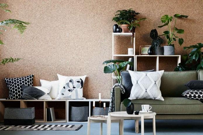 Пробковые обои для стен: особенности, виды, фото в интерьере, комбинирование, дизайн