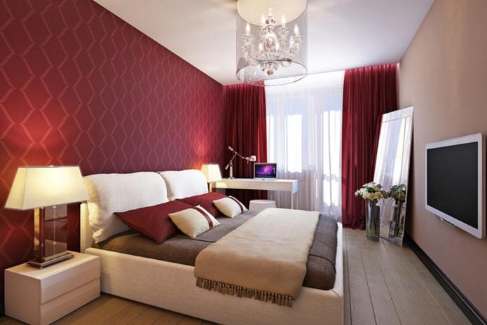 Бордовые обои на стенах: виды, дизайн, оттенки, сочетание с другими цветами, шторами, мебелью
