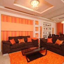 Обои оранжевого цвета: виды, дизайн и рисунки, оттенки, сочетания, фото в интерьере-5