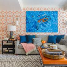 Обои оранжевого цвета: виды, дизайн и рисунки, оттенки, сочетания, фото в интерьере-6