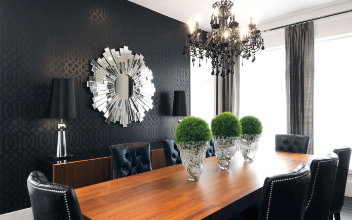 Черные обои: виды, рисунки, дизайн, комбинирование, сочетание с шторами, мебелью