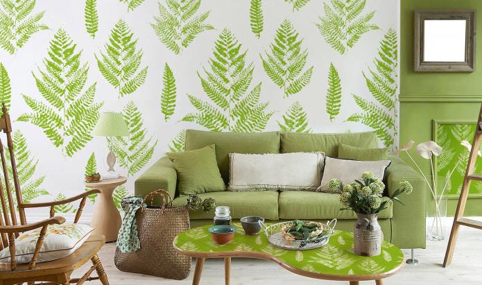 Салатовые обои в интерьере: виды, идеи дизайна, сочетание с другими цветами, шторами, мебелью