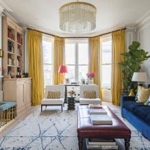 Желтые шторы в интерьере: виды, ткани, цвет, дизайн, декор, сочетание с цветом обоев-2