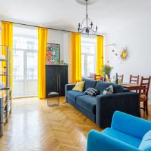 Желтые шторы в интерьере: виды, ткани, цвет, дизайн, декор, сочетание с цветом обоев-6