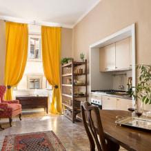 Желтые шторы в интерьере: виды, ткани, цвет, дизайн, декор, сочетание с цветом обоев-8