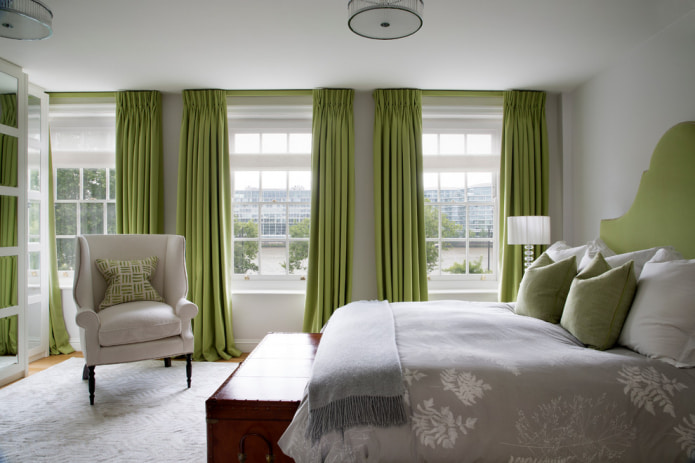 Фотоподборка зеленых штор в интерьере