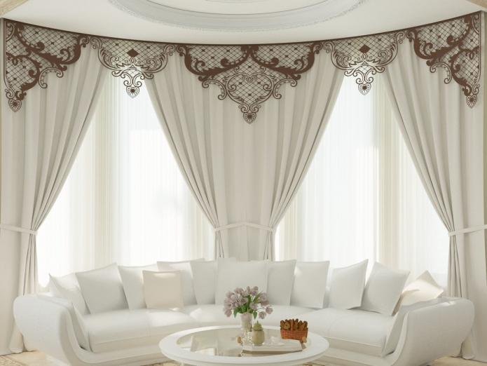 Идеи дизайна ламбрекенов для зала: виды, рисунки, форма, материал и сочетания со шторами