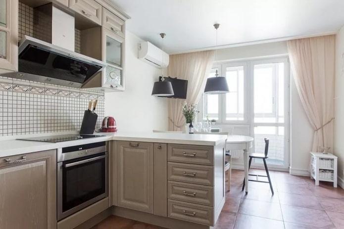 Шторы на кухню с балконной дверью: виды, выбор цвета, стиля, дизайн, декор окна
