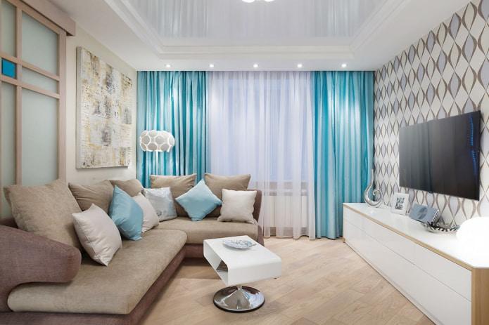 Голубые шторы на окнах: виды, дизайн, комбинирование, ткани, декор, сочетание с обоями