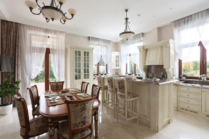 Тюль на кухню: виды, выбор ткани, цвета, дизайн, рисунки, комбинирование с шторами