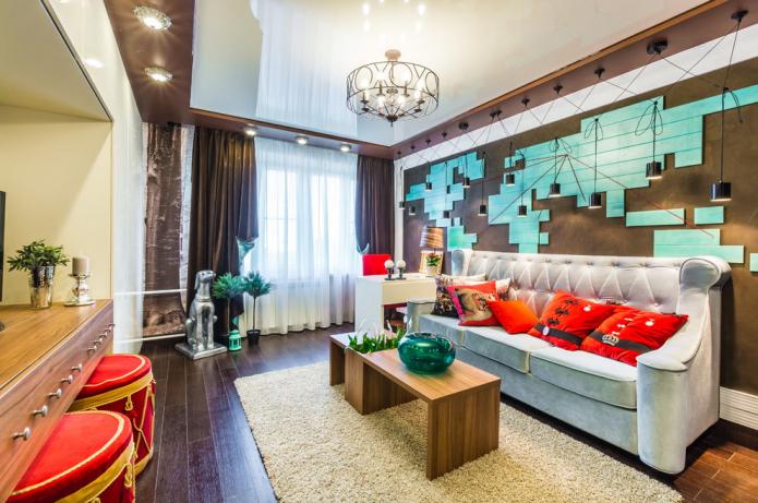 Комбинированные натяжные потолки: сочетание по цвету, фактуре, с другими материалами, разноуровневые
