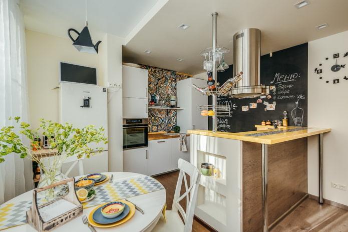 Двухуровневый потолок на кухне: виды, дизайн, цвет, варианты форм, подсветка