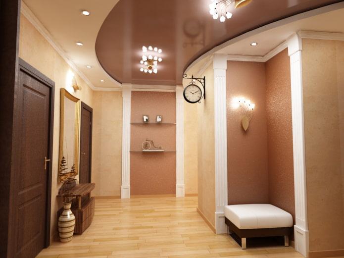 Натяжной потолок в коридоре и прихожей: виды конструкций, фактуры, форм, освещение, цвет, дизайн