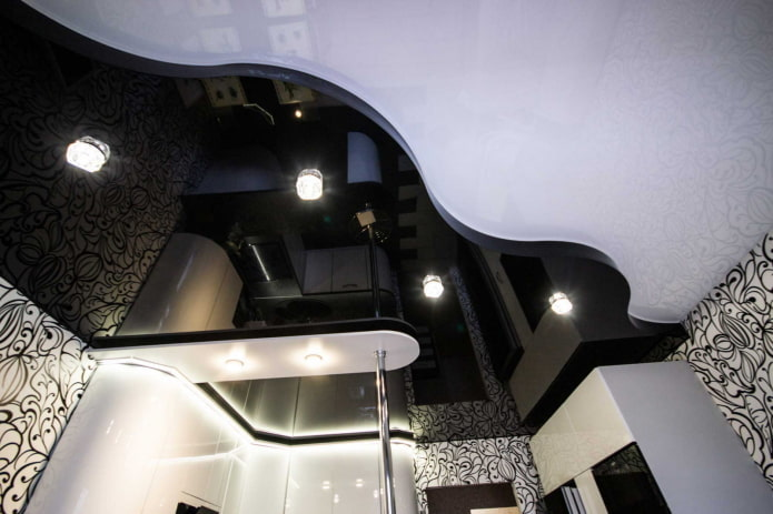 Черно-белый натяжной потолок: виды конструкций, фактур, форм, варианты дизайна