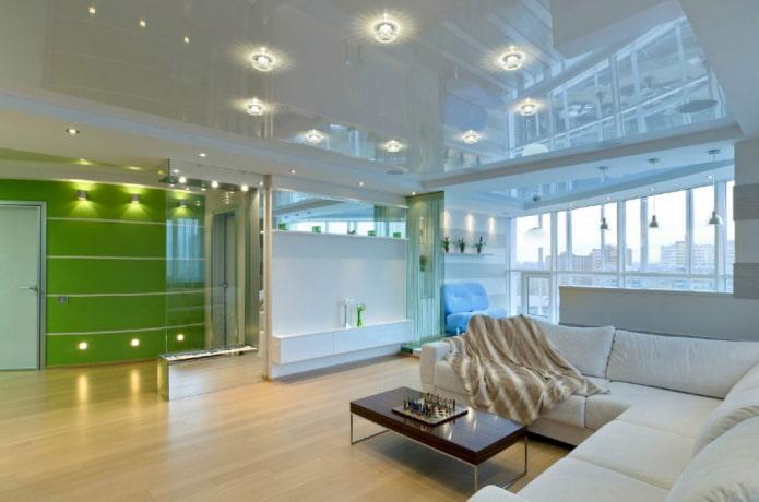 Белый натяжной потолок: виды по конструкции, фактуре (глянцевые, матовые, сатин), сочетания, освещение, дизайн