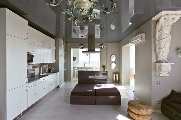 Серый потолок в интерьере: дизайн, виды (матовый, глянец, сатин), освещение, сочетание со стенами