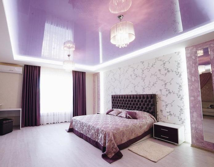 Сиреневый потолок: виды (натяжной, гипсокартонный и др.), сочетания, дизайн, освещение