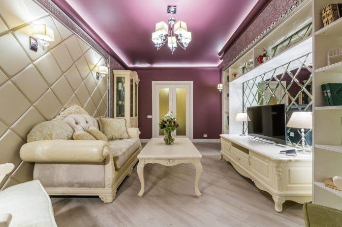 Фиолетовый потолок: дизайн, оттенки, виды (натяжной, гипсокартонный и др.), сочетание со стенами